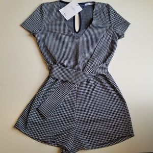 Zara Romper Size Small Blue and White Short Sleeve